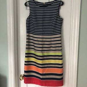 Navy with multi-colored stripe dress